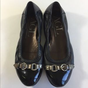 AGL Black Leather loafers flats size 36.5